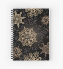 Golden Snowflakes on Black Spiral Notebook