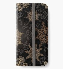 Golden Snowflakes on Black iPhone Wallet/Case/Skin