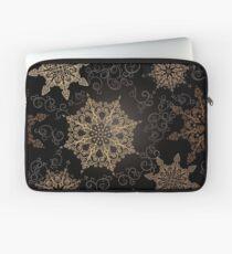 Golden Snowflakes on Black Laptop Sleeve