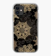 Golden Snowflakes on Black iPhone Case