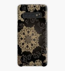 Golden Snowflakes on Black Case/Skin for Samsung Galaxy