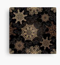 Golden Snowflakes on Black Canvas Print