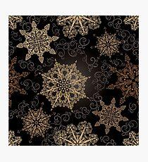 Golden Snowflakes on Black Photographic Print