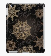 Golden Snowflakes on Black iPad Case/Skin