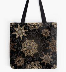 Golden Snowflakes on Black Tote Bag