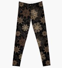 Golden Snowflakes on Black Leggings