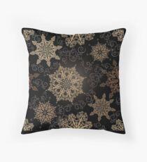Golden Snowflakes on Black Floor Pillow
