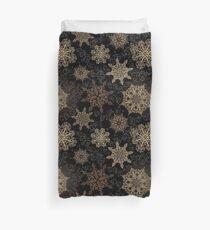 Golden Snowflakes on Black Duvet Cover