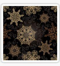 Golden Snowflakes on Black Sticker