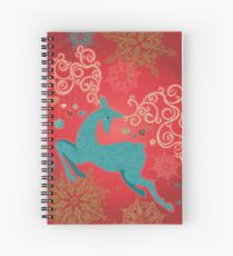 Christmas Deer on Red   Spiral Notebook