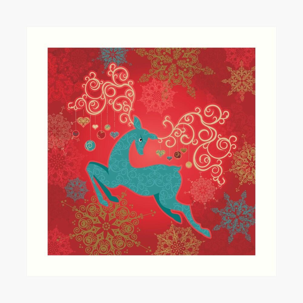 Christmas Deer on Red   Art Print