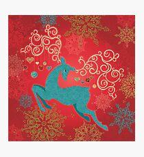 Christmas Deer on Red   Photographic Print