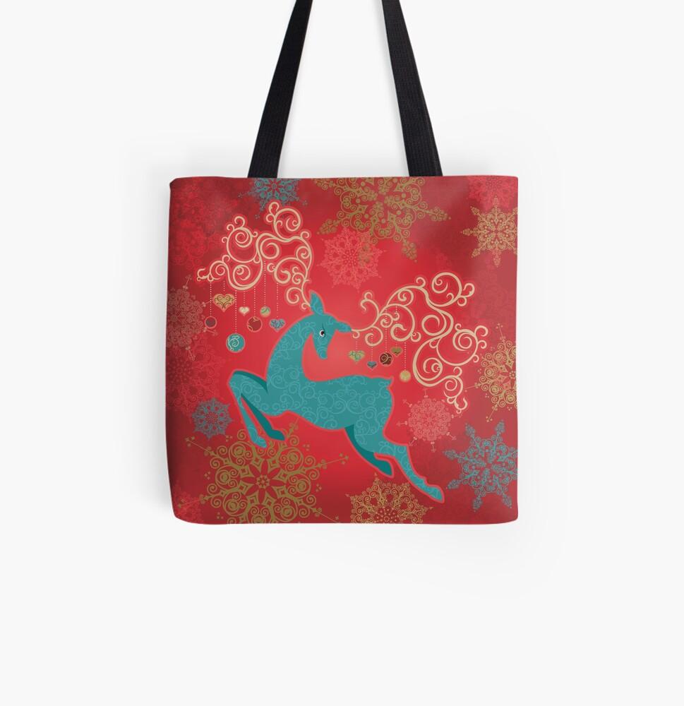 Christmas Deer on Red   All Over Print Tote Bag