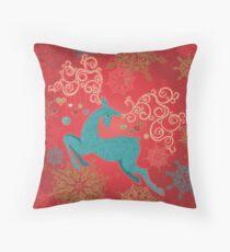 Christmas Deer on Red   Throw Pillow
