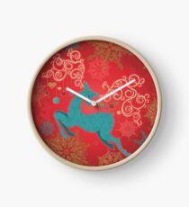Christmas Deer on Red   Clock