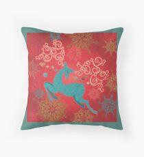 Christmas Deer on Red   Floor Pillow