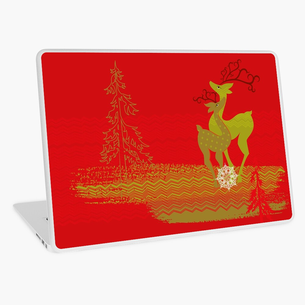 Winter Couple Deer Laptop Skin