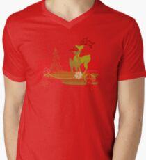 Winter Couple Deer V-Neck T-Shirt