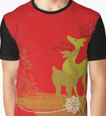 Winter Couple Deer Graphic T-Shirt