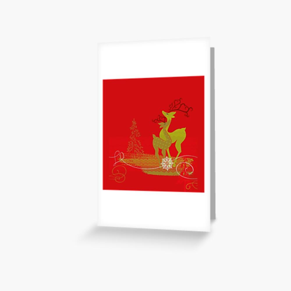 Winter Couple Deer Greeting Card