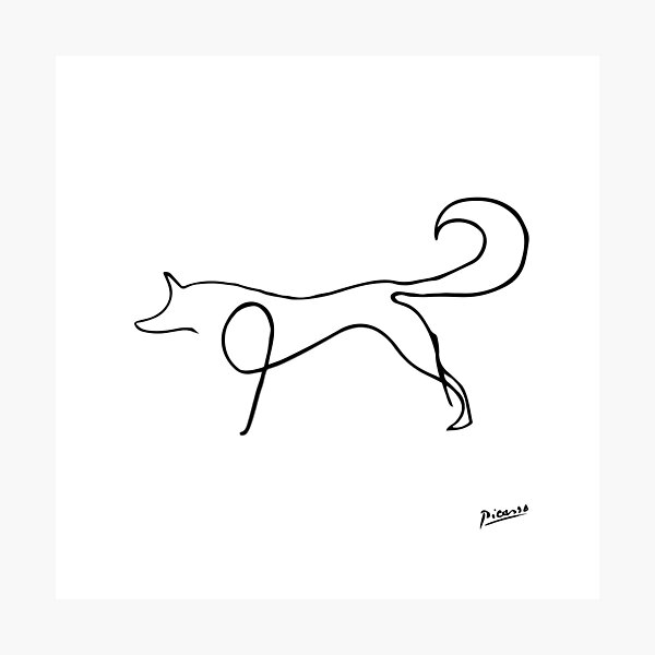 Pablo Picasso Line Art Wild Fox Artwork Sketch black and white Hand Drawn ink Silhouette HD High Quality Photographic Print