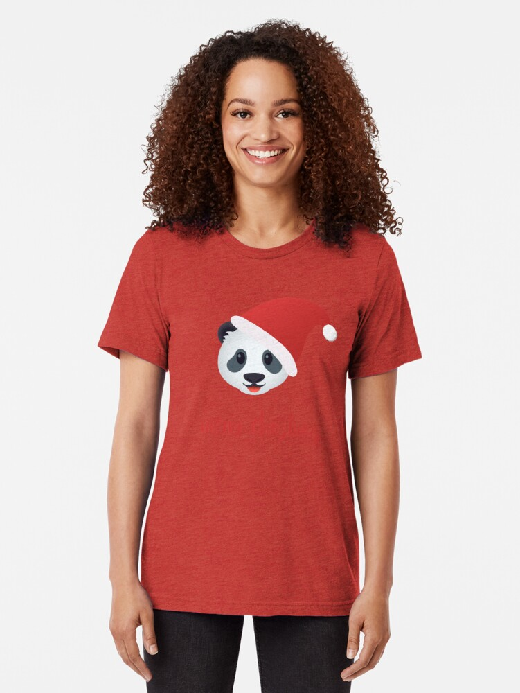 Alternate view of Have a panda merry christmas Tri-blend T-Shirt