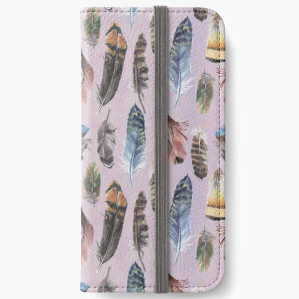 Watercolour Boho Feathers iPhone Wallet