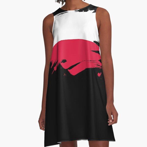 Poland Paint Splatter Flag   Polish Pride Design A-Line Dress