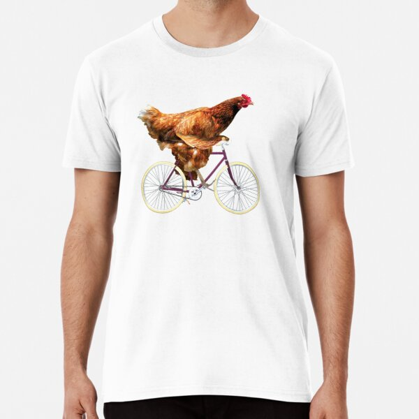 Quirky Chicken Riding Bicycle Premium T-Shirt