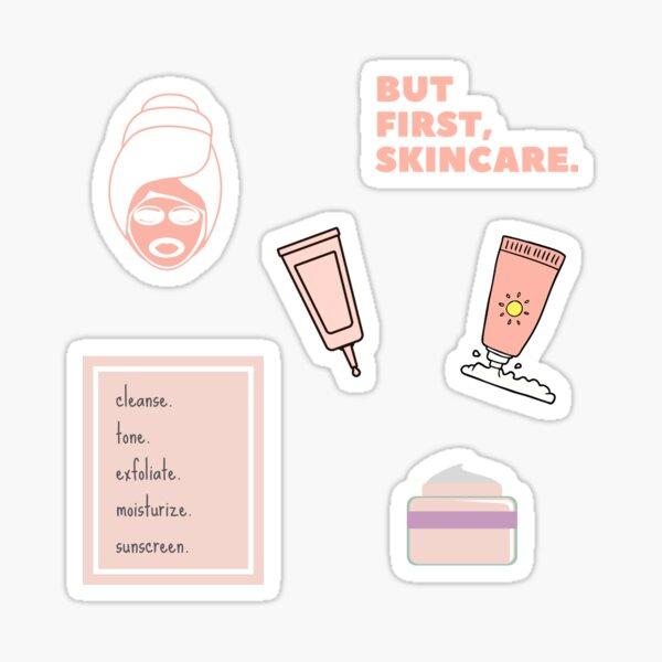 Pero primero, paquete de paquete Skincare Pastel Pink Pegatina