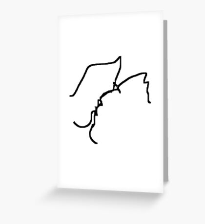 the kiss -(050311)- mouse drawn/ms paint Greeting Card