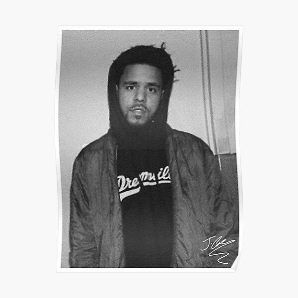 Black and White J. Cole Photo Signature Poster