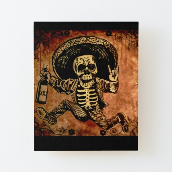 Posada Day of the Dead Outlaw Wood Mounted Print