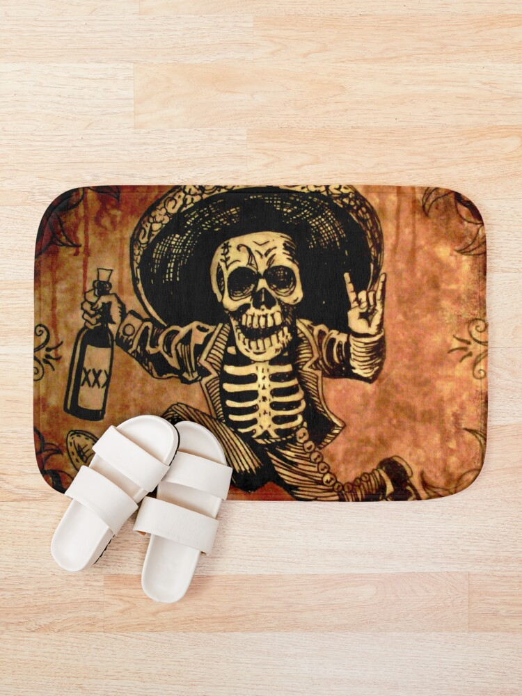 Alternate view of Posada Day of the Dead Outlaw Bath Mat