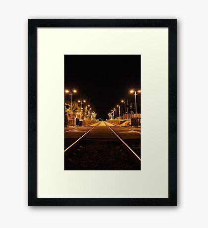 Railway Line at night Framed Print
