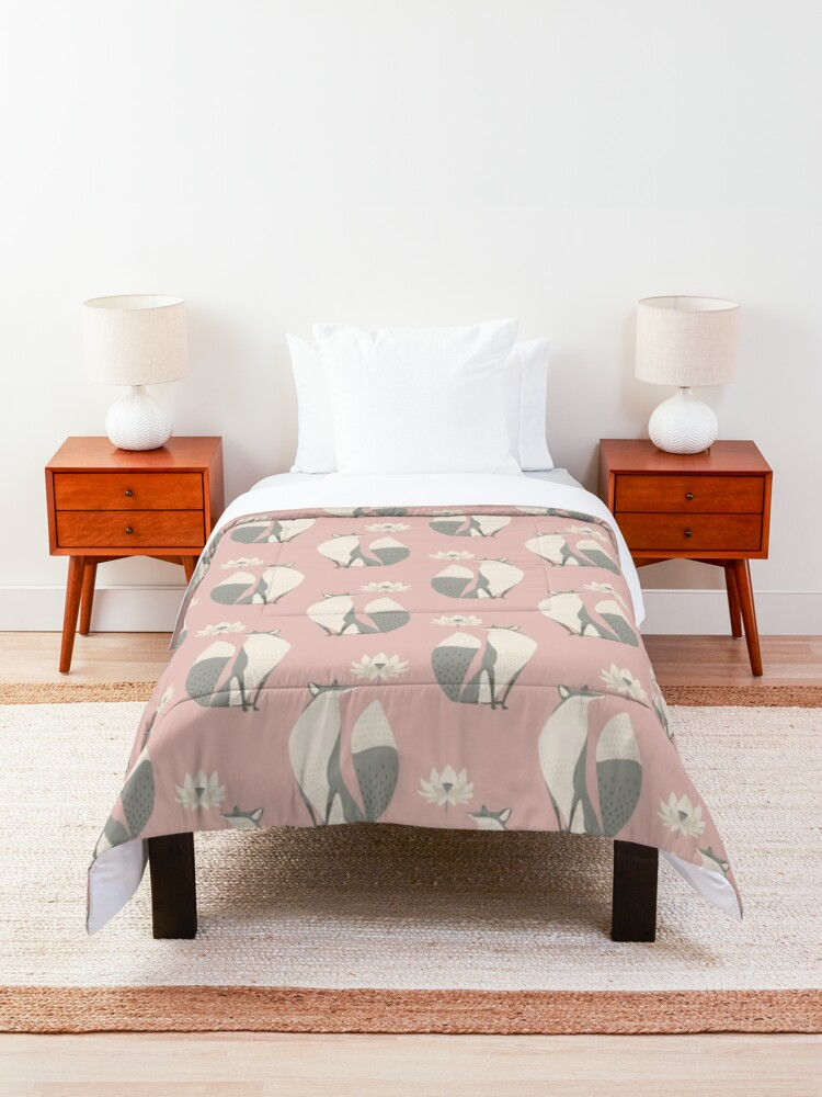 Alternate view of The Fox and the Lotus Flower Comforter