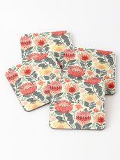 Protea Chintz - Grey & Red Coasters
