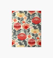 Protea Chintz - Grey & Red Art Board Print