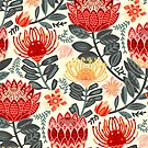 Protea Chintz - Grey & Red by TigaTiga