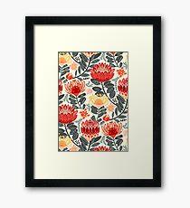 Protea Chintz - Grey & Red Framed Print