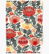 Protea Chintz - Grey & Red Poster