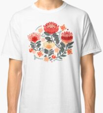 Protea Chintz - Grey & Red Classic T-Shirt