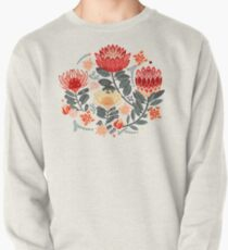 Protea Chintz - Grey & Red Pullover Sweatshirt