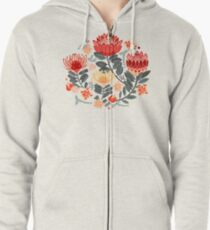 Protea Chintz - Grey & Red Zipped Hoodie