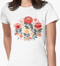 Protea Chintz - Grey & Red Fitted T-Shirt
