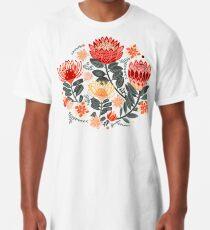 Protea Chintz - Grey & Red Long T-Shirt