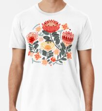 Protea Chintz - Grey & Red Premium T-Shirt