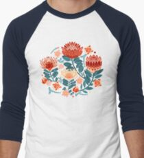 Protea Chintz - Navy Baseball ¾ Sleeve T-Shirt