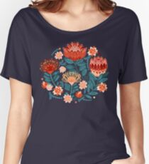 Protea Chintz - Navy Relaxed Fit T-Shirt