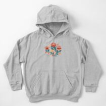 Protea Chintz - Navy Kids Pullover Hoodie